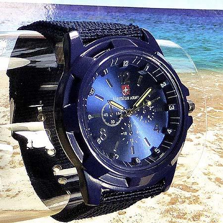 Armbanduhr blau seefahrer marine offizier segleruhr - Sonnenspiegel silber ...